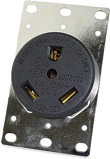 RV 30 Amp, 125 Volt, NEMA Tt-30R, 2P, 3W Power Receptacle Flush Mounting Receptacle, Straight Blade, Industrial Grade, Grounding, Side Wired, Steel Strap, Black (30-Amp)