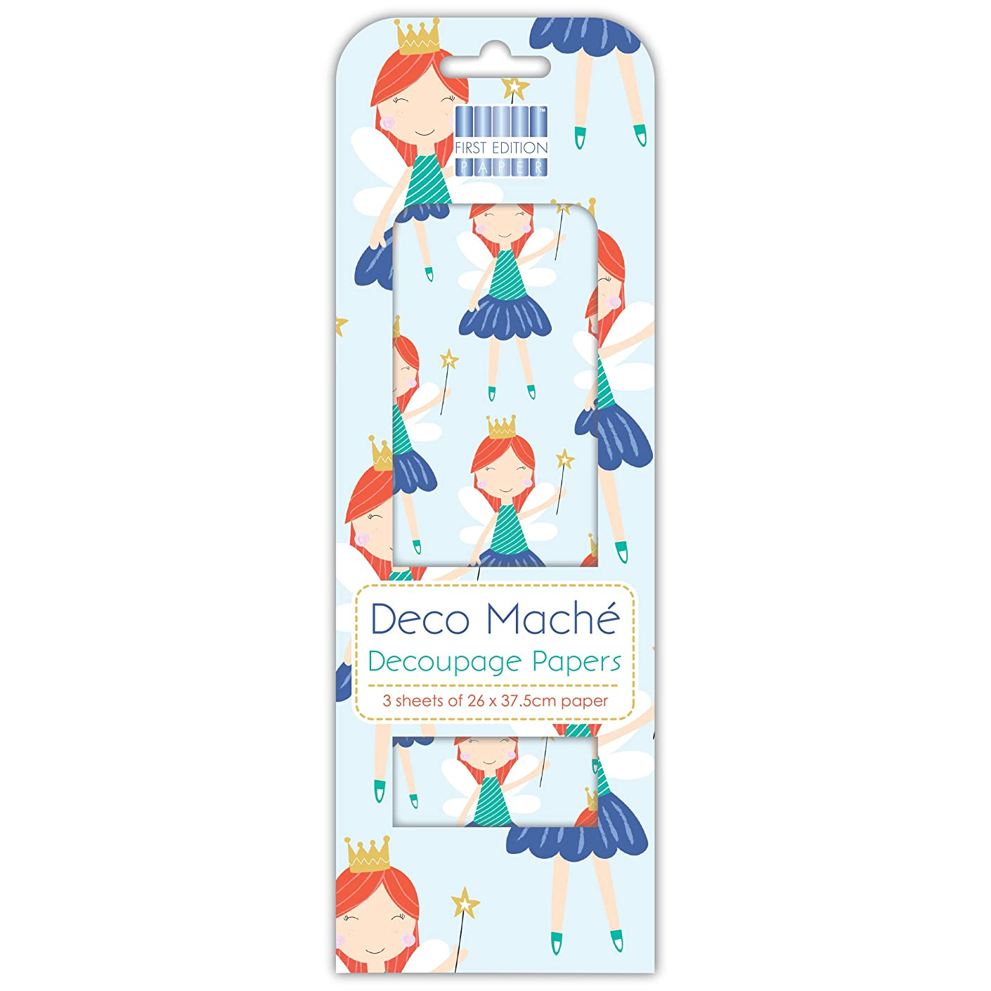 First Edition Deco Mache Decoupage Craft Papers - Fairy- Borders - 3 Sheets - 22gsm - 26 x 37.5 cm  Papers -  Home Crafts - Upcycling - Papermache