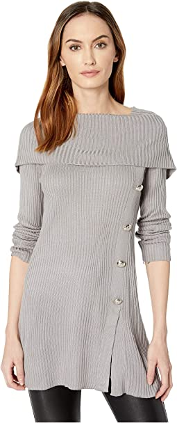 Cowl Pullover Sweater w/ Button Detail