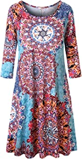 فستان تونيك نسائي كاجوال برقبة مستديرة مقاس كبير من تانست سكاي مع جيوب
