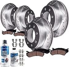 Detroit Axle - 8-LUG FRONT & REAR Drilled Slotted Brake Rotors & Ceramic Brake Pads w/Hardware, Fluid & Cleaner for 01-10 Silverado/Sierra 2500HD - [07-10 Silverado/Sierra 3500HD Single Rear Wheel]