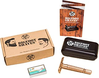Bigfoot Shaves | Double Edge Single Blade Safety Razor Kit | Classic Razor | Smooth Shave Without Razor Burns | Excellent Gift Idea | Includes: Travel Case, Mirror & Blades | Gold Razor