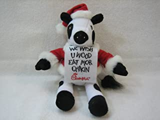 Chick-fil-A Cow in Santa Suit with Placards 'We Wish U Wood Eat Mor Chikin' and 'Cross Burgerz Off Yer List' 9