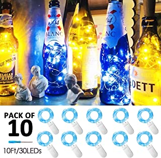 30 Micro LED 10 Pack 10ft Starry String Lights, Waterproof Firefly Moon Lights, Fairy Silver Copper Wire Lights Battery Operated, for DIY Party Christmas Wedding Easter Table Decorations(Blue)