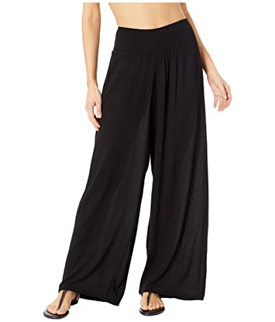 LAUREN Ralph Lauren Crinkle Rayon Cover-Up Smocked Waist Pant (Black) Women