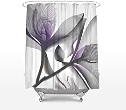T&H Home Shower Curtain X-ray Flower Pattern, Waterproof and Ployester, Bathroom Decor, Hooks Included, 72 x 72 Inch