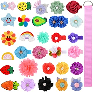 ALinmo 30pieces Flower Hair Bows Clips Fully Ribbon Covered Alligator Clips Barrettes Hair Accessories for Baby Girls Infa...