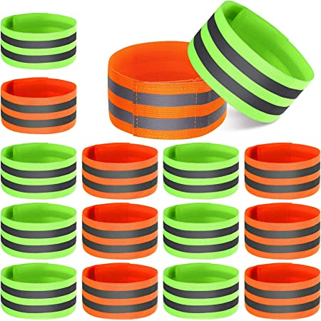 16 Pieces Reflective Bands Reflector Bands for Wrist, Arm, Ankle, Leg, High Visibility Reflective Gear Safety Reflector Tape Straps for Night Walking, Cycling and Running