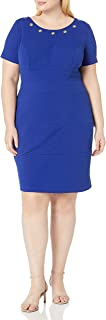 AGB Women's Short Sleeve Dresss with Grommet Details Plus Size