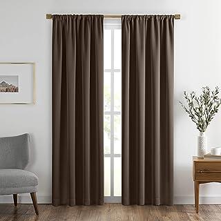 "Elrene SunVeil Vanderbilt Extra Wide Blackout Window Curtain Panel, 52"" x 95"" (1, Chocolate"