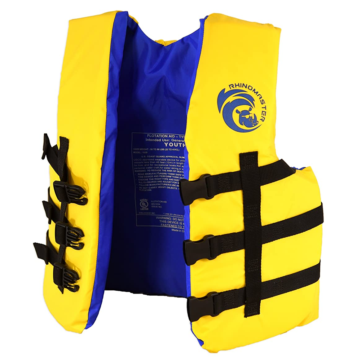 RhinoMaster Youth 50-90 lb Life Vest for Watersports, Yellow/Black, 17