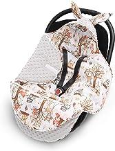 EliMeli Baby Einschlagdecke Babyschale Winter - Grau Braun Mädchen Junge Decke Universal für Autositz, Kinderwagen Buggys und Babybett, Premium Qualität - Design Minky Decke Grau - Waldfreunde
