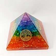 PYOR Símbolo de 7 Chakras ónix con árbol de la Vida, pirámide Reiki Chakra Equilibrio decoración del hogar tamaño 3.5 Pulgadas Aprox.