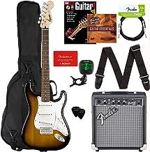Fender Squier Stratocaster Pack Bundle with Padded Gig Bag, Frontman 10G Amp, Instrument Cable, Tuner, Strap, Picks, Fender Play Online Lessons, Guitar Book and Instructional DVD - Sunburst