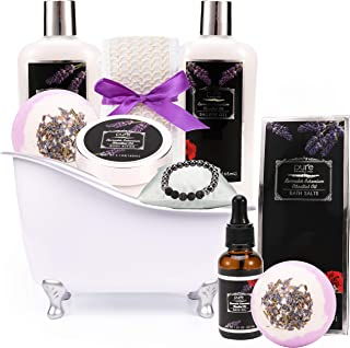 Lavender Geranium Spa Gift Basket. Bath and Body Spa Set. 11 Pieces including Bath Bombs, Shower Gel, Bath Oil, Lava Stone Bracelet. Best Relaxation Women - Birthday, Anniversary, Sympathy