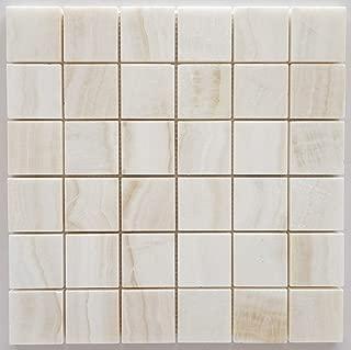 Premium White Onyx VEIN-CUT 2 X 2 Polished Mosaic Tile - SAMPLE