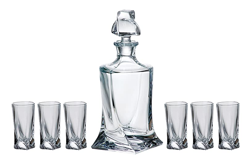Barski - European Quality - 7 Piece Bar Set - for Whiskey or Liquer - Includes - 17 oz. Decanter - 6 Pcs of 1.7 oz. Shot Glasses - Lead Free Crystalline - Gift Boxed - Made in Europe