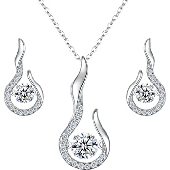 EVER FAITH Womens Full CZ Forever Love Heart Pandent Necklace Stud Earrings Set Clear Silver-Tone