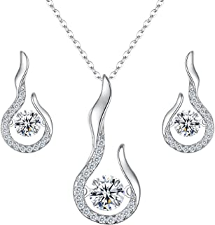EVER FAITH Women's 925 Sterling Silver CZ Flower Bud Necklace Earrings Set Clear