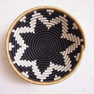 African Basket- Chwele/Rwanda Basket/Woven Bowl/Sisal & Sweetgrass Basket/Black, White, Tan