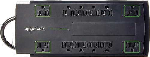 AmazonBasics Protector de sobretensiones de 12 tomas de corriente, 4,320 julios, 3 mts