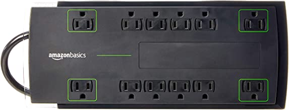 Amazon Basics 12-Outlet Power Strip Surge Protector | 4,320 Joule, 10-Foot Cord