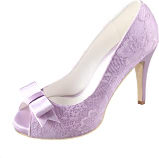 Creativesugar Women's High Heels, Open Toe with Bow Lavender Lace Wedding Shoes, Sweet Bridal Dress Pumps