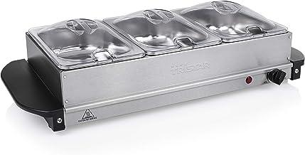 Tristar Chauffe-Plat BP-6283, Capacité 3 x 1,4L, Fonction Maintien au Chaud, Gris métal
