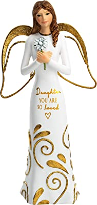 Pavilion Gift Company Daughter You are So Loved - 5.5 Inch Flower Collectible Resin Angel Figurine, White