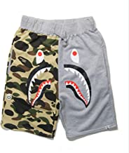 Athletic Pants Shark Pattern Hip hop Camouflage Stitching Shorts Men Drawstring Sports Shorts