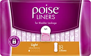 POISE Adult Care Poise Incontinence Liners, Light Absorbency (Pack of 18) , 0.066 kilograms