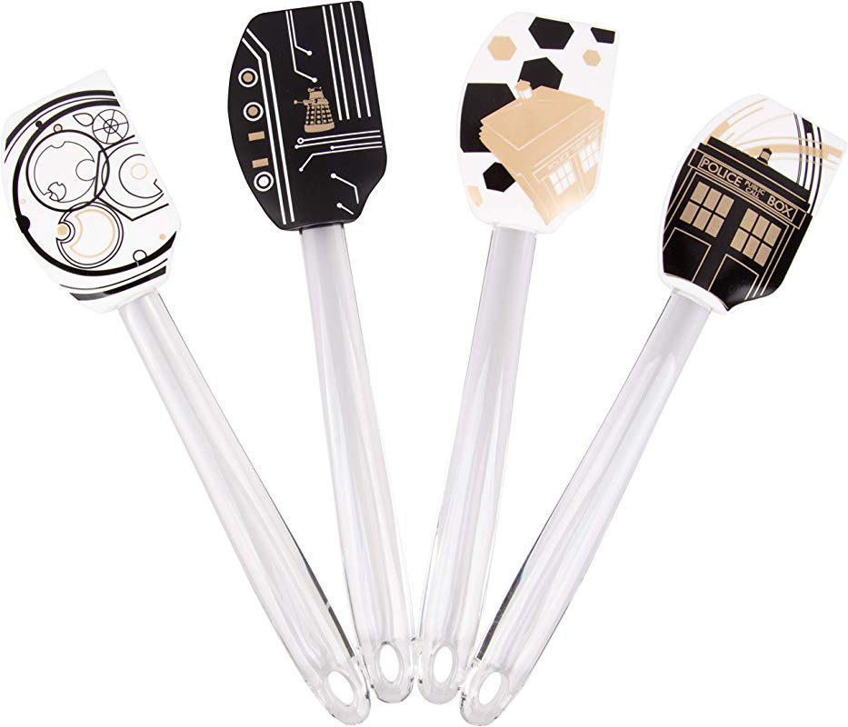 Doctor Who Silicone Spatula 4 Piece Bundle Pinache Black And White Tardis And Gallifrey Designs Perfect For Dr Who Fans 11 Inches
