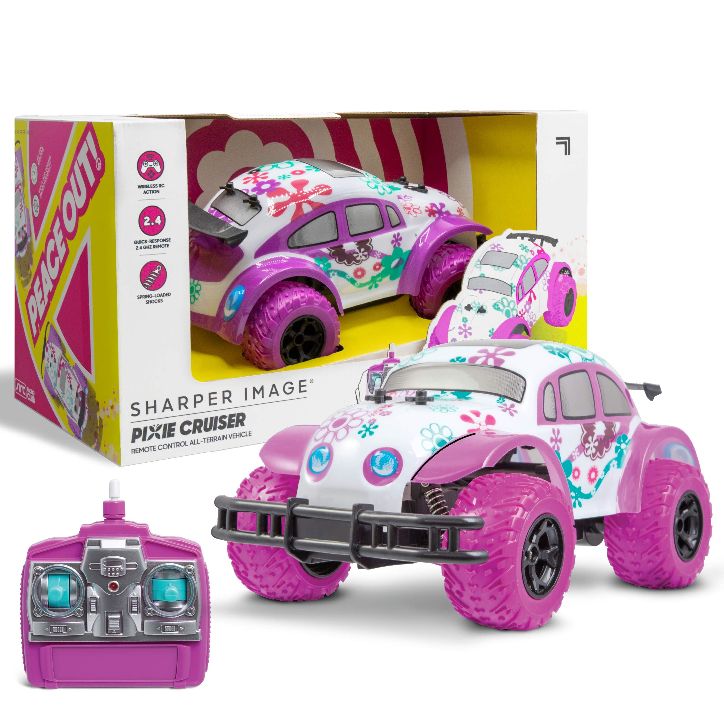 Pixie Cruiser Pink And Purple Rc Remote Control Car Toy For Girls With Off Road Grip Tires Princess Style Big Buggy Crawler Cars Toys W Flowers Design And Shocks Race Up To 5