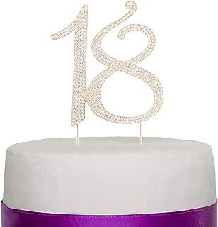 Ella Celebration 18 Cake Topper for 18th Birthday Party Gold Crystal Rhinestone Decoration (Gold)