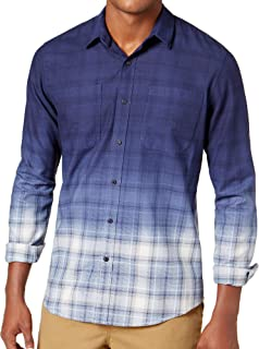 American Rag Mens Dip-Dyed Plaid Button Up Shirt