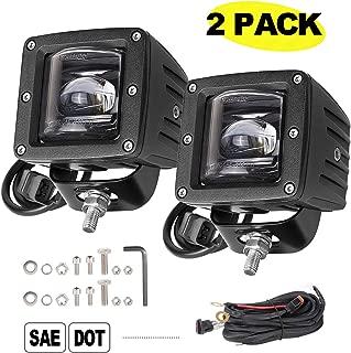 LED Pods, 3 inch AKD Part LED Fog Lights SAE LED Cubes DOT Offroad Driving Lights Jeep LED Pods Square Work Lights Fog Lamp Truck Wiring Harness Boat SUV ATV UTV 2 Years Warranty