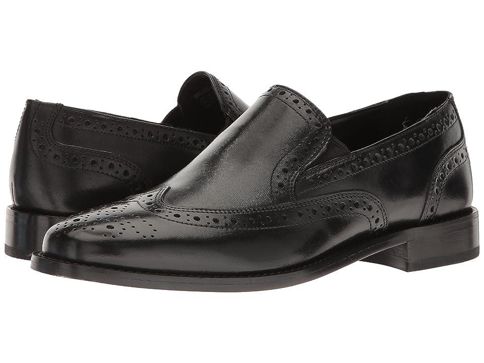 Nunn Bush Norris Wing Tip Double Gore Dress Casual Slip-On (Black) Men