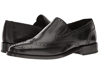 Nunn Bush Norris Wing Tip Double Gore Dress Casual Slip-On (Black) Men