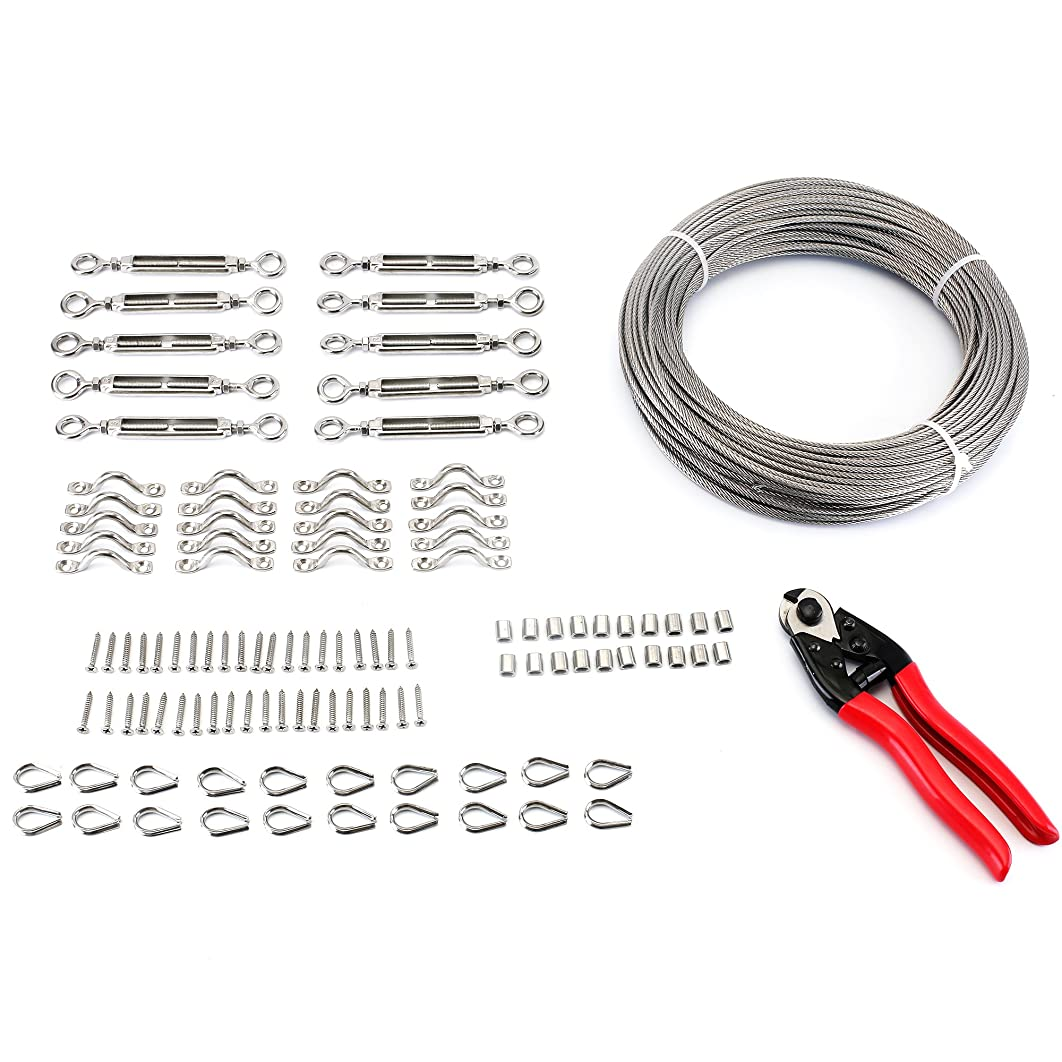 """Zoostliss 200Feet 1/8"""" Stainless Steel Wire Rope Cable, Cable Cutter Heavy Duty Cable Railing Kit Set with Eye-Eye Turnbuckles, Thimbles, Eye Straps, Swages (Ferrules) and Screws"""