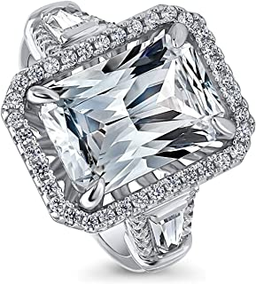 BERRICLE Rhodium Plated Sterling Silver Radiant Cut Cubic Zirconia CZ Statement Halo Engagement Ring 8.56 CTW