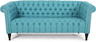 Christopher Knight Home Edgar Traditional Chesterfield Sofa with Tufted Cushions, Teal and Black