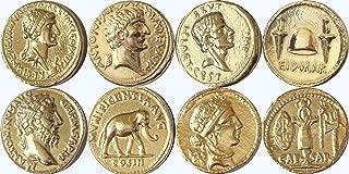 Golden Artifacts Cleopatra Brutus Marcus Aurelius Julius Caesar 4 Roman Coins, Collectible Coin Sets Roman Empire (4ROME-G)