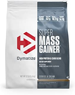 Dymatize Super Mass Gainer Protein Powder with 1310 Calories Per Serving, Gain Strength & Size Quickly, Cookies & Cream, 12 lbs