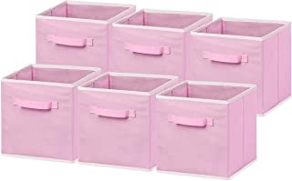 "6 Pack - SimpleHouseware Foldable Cloth Storage Cube Basket Bins Organizer, Pink (11"" H x 10.75"" W x 10.75"" D)"