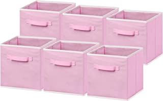 6 Pack - SimpleHouseware Foldable Cloth Storage Cube Basket Bins Organizer, Pink (11