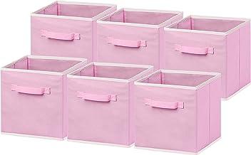 Simple Houseware Foldable Cube Storage Bin - 6 Pack Pink