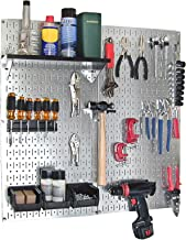 Wall Control 30-WGL-200 GVB Steel Pegboard Utility Tool Storage Kit - Galvanized Steel Pegboard & Black Accessories