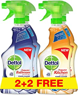 Dettol Healthy Bathroom Power Cleaner, 2 x 500ml Plus Dettol Healthy Kitchen Power Cleaner, 2 x 500ml