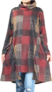 Women's Checked Plaid Tunic Tops Turtleneck Shirt Dress with Pockets