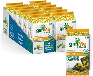 gimMe Snacks - Organic Roasted Seaweed - Toasted Sesame - (.35oz) - (Pack of 12) - non GMO, Gluten Free - Healthy on-the-g...